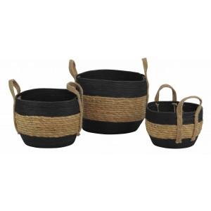 Lot de 3 corbeilles rondes en papier noir et corde à paille - CORDOU