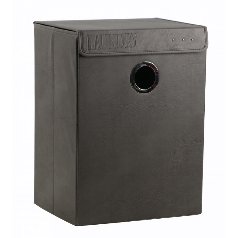 Panier pliant rectangulaire en PU gris avec anneau en métal - BASKET