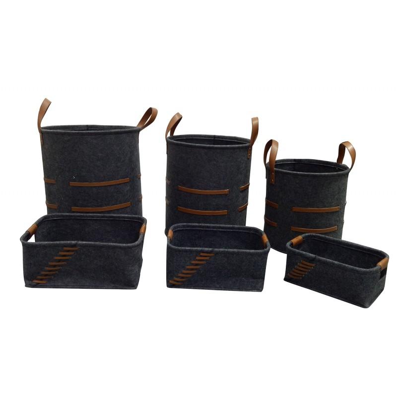 Lot de 6 corbeilles rondes et rectangulaires en feutre gris foncé avec lanières - BASKET