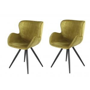 Lot de 2 Chaises velours vert et pieds métal noir - fauteuil design contemporain scandinave - LOTUS