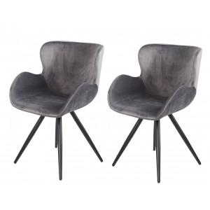 Lot de 2 Chaises velours gris et pieds métal noir - fauteuil design contemporain scandinave - LOTUS
