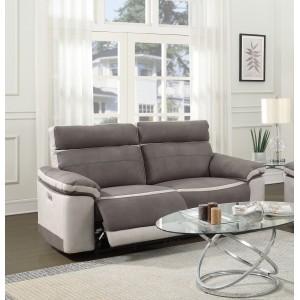 Canapé relaxation 2,5 places  TAUPE BICOLORE - motorisé - tissu suédine doux - CLARA