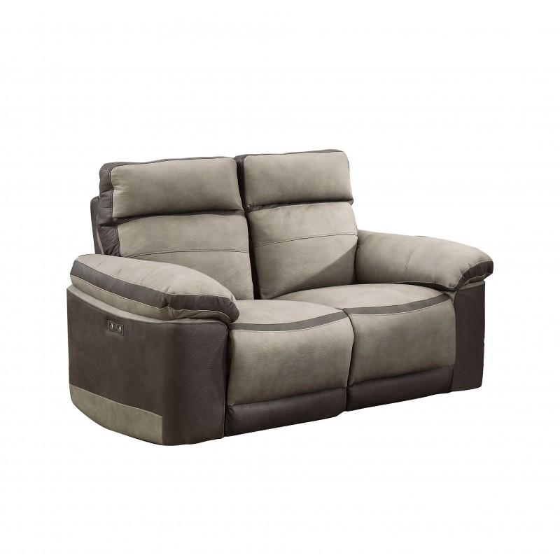 Canapé relaxation 2 places  BEIGE BICOLORE - motorisé - tissu suédine doux - CLARA