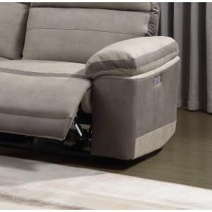 Canapé relaxation 2,5 places  BEIGE BICOLORE - motorisé - tissu suédine doux - CLARA