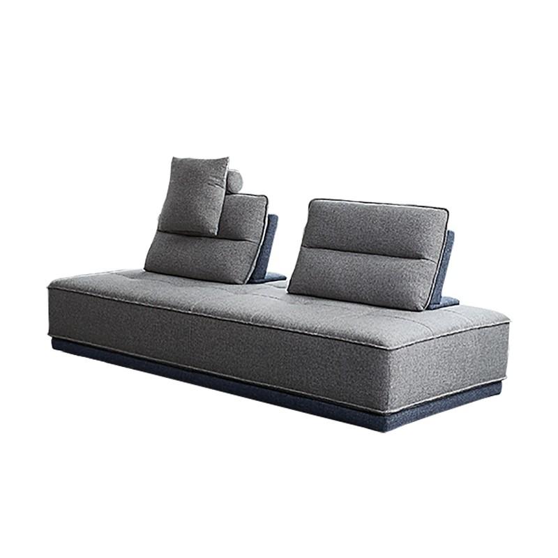 Canapé 3 places modulable tissu gris bleu bicolore confortable design contemporain - méridienne dossiers Amovibles - LOUNGE