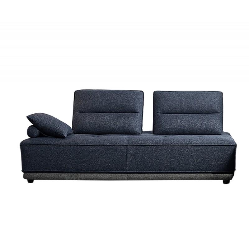 Canapé 3 places modulable tissu bleu gris bicolore confortable design contemporain - méridienne dossiers Amovibles - LOUNGE
