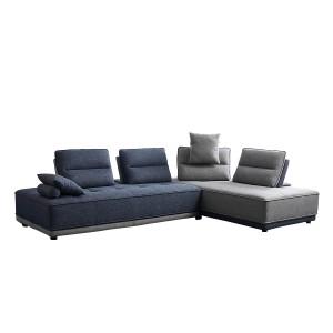 Canapé d'angle modulable droite ou gauche tissu gris et bleu confortable - LOUNGE