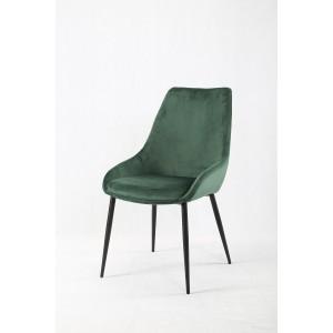 Lot de 2 chaises tissu velours vert doux avec piétement métal noir confortable - JAZZY