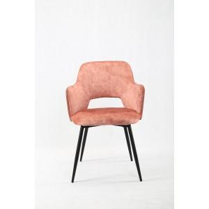 Lot de 2 chaises accoudoirs rose bi-matière suédine et simili avec piétement métal noir - design contemporain - LILOU