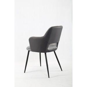 Lot de 2 chaises accoudoirs gris foncé bi-matière suédine et simili avec piétement métal noir - design contemporain - LILOU