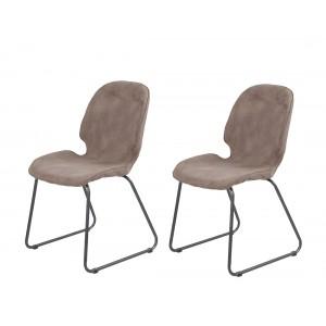 Lot de 2 chaises marron taupe, suédine doux, pieds luge - PANAMA