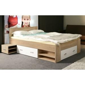 Lit 140x200 avec rangements décor bois clair et blanc - MILO