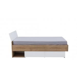 Lit 120x200 cm et tiroir de rangement bois clair et blanc - GABRIEL