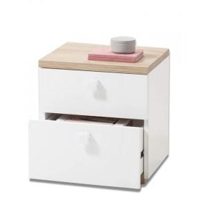 Lot de 2 tables de chevet bois clair et blanc - GABRIEL