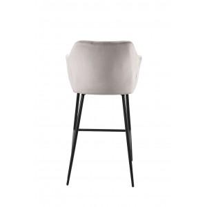 Chaise haute de bar en velours marron avec dossier et piétement métal noir - CHIC