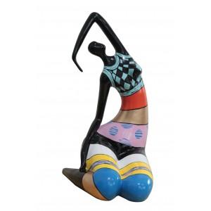 statue femme assise à rayures multicolores en résine - LADY VENUS
