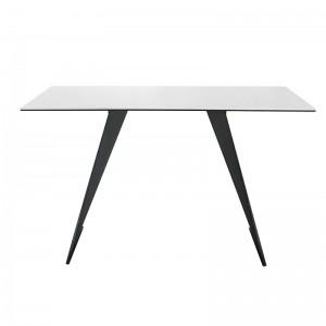 Console rectangulaire plateau céramique blanc et piètement acier noir - design contemporain - collection OPALE
