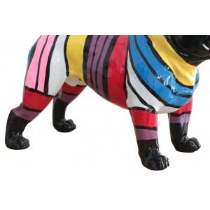 statue chien à bandes multicolores en résine - ARTHUR