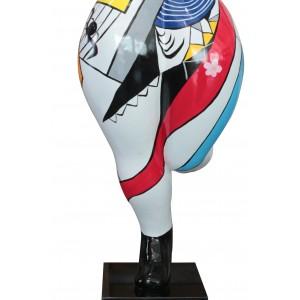 statue femme multicolore motifs abstraits  en résine -  LADY PAINT