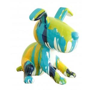 statue chien assis peinture bleu/vert en résine -  TCHOUPI