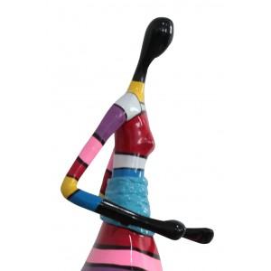 statue femme rayures multicolores en résine - LADY WALK