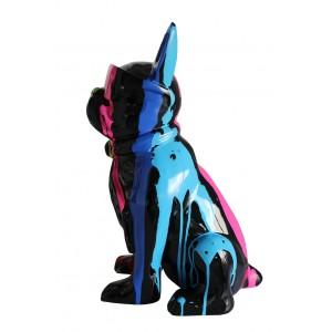 statue chien peint à lunettes multicolore en résine -  KARL