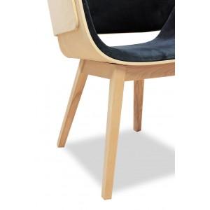 Fauteuil design gris anthracite en bois et  tissu velours - style contemporain - L'Elégance & la Qualité - SPOON