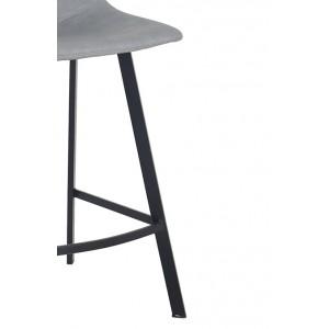 LOT 2 Tabouret de bar simili gris clair - piétement repose-pied métal noir - FUKUMI