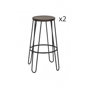 Lot 2 Tabourets de bar en métal et bois - design industriel - HARVEY