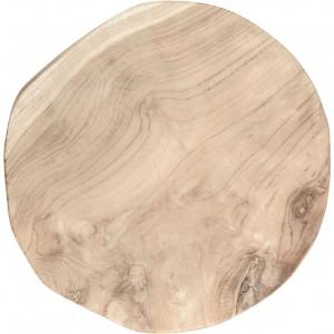 Tabouret / bout de canapé ROND en bois de teck naturel et blanc - design cosy bohème chalet chic - DUO