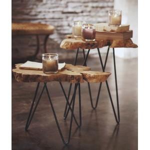Table basse en teck et trépied en métal - ROOT