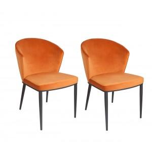 lot de 2 chaises velours orange piétement métal noir - Lucy