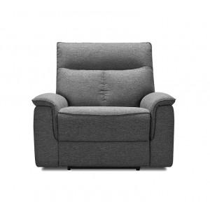 Fauteuil relaxation en tissu gris chiné - LYDIA