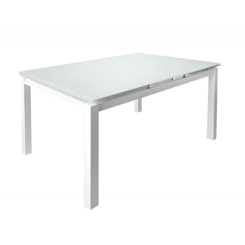 table extensible 120 a 200 cm compact plateau verre blanc angela