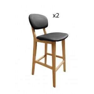 Lot de 2 tabourets de bar NOIRS en bois style scandinave - assise PU - avec dossier et repose-pieds – VALS