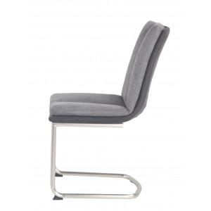 Lot de 4 chaises tissu gris/anthacite et pieds chromé - ULTRA CONFORT SUPER SOFT - design contemporain - DOLCE