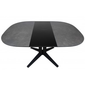Table extensible ronde/ovale en céramique gris anthracite style contemporain - DIVA