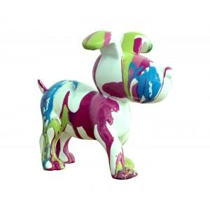 Petit chien sculpture décorative multicolore - design moderne contemporain