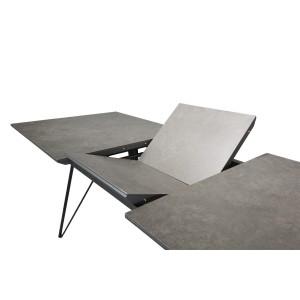 Table 160/210 cm extensible rectangulaire céramique et métal  gris anthracite - ONYX