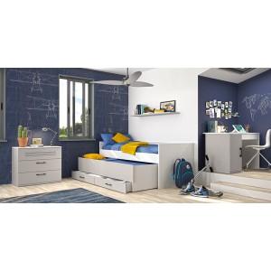 lit simple 90x200 compact gris blanc avec tiroir-lit 90x190 et rangement - chambre design moderne - LUC