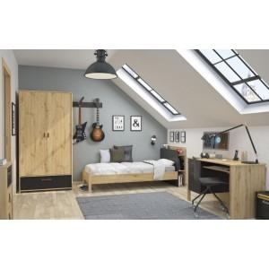 Lit simple 90x190 décor chêne beige et tête de lit noir - Aramis