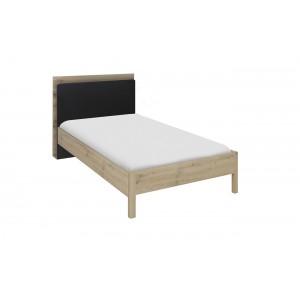 Tête de lit bibliothèque pour lit 90 cm décor chêne beige et noir - Aramis
