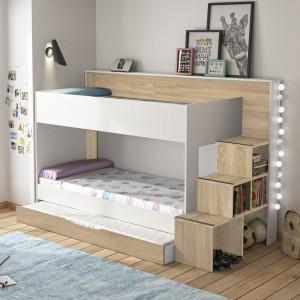 Lits superposés 90x200 blanc et décor chêne avec escalier / rangement bibliothèque   - Camille