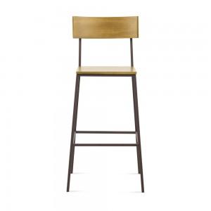 tabouret de bar en pin et métal marron - LINEA