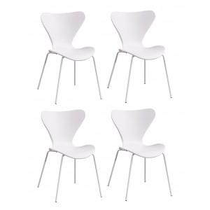 lot de 4 chaises blanches empilables piétement acier blanc - Pop