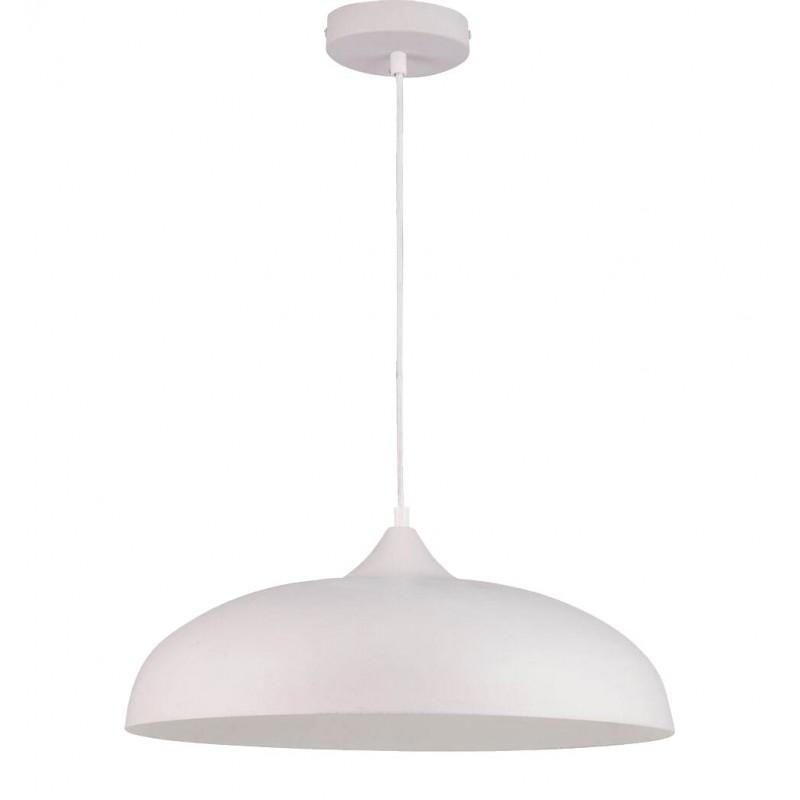 Grande suspension lumineuse en métal blanc - KRUG