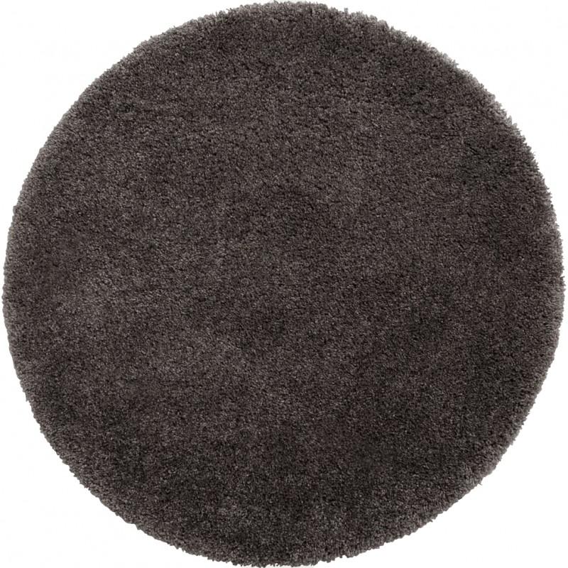 Tapis rond gris à poils longs 120 cm doux - Grisou