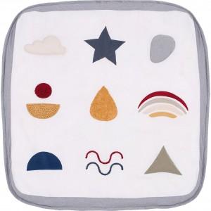 Tapis d'éveil carré 100x100 en tissu rembourré confortable - Jeux bébé - Baby