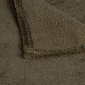 Plaid vert 230x250 texture polaire douce - Lichen