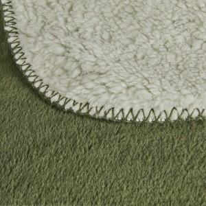 Plaid vert et blanc 130x170 imitation fausse fourrure - Mousse